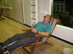 Me taking a nap on the Holland America Line MS Maasdam!